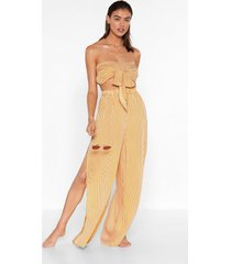 womens beachin' to the choir striped bandeau top and pants set - gold