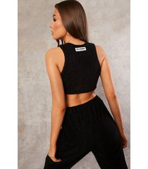 gerecyclede badstoffen crop top met cup detail, black