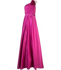 marchesa notte one-shoulder draped gown - pink