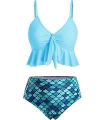 flounce knot scale print mermaid tankini swimsuit
