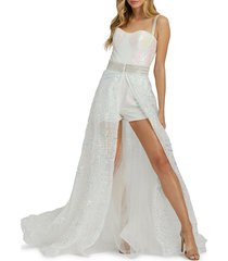 mac duggal women's textured overskirt romper - crystal ice - size 6
