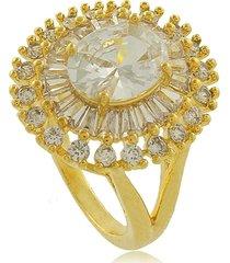 anel oval com zircônias rendadas 3rs semijoias dourado