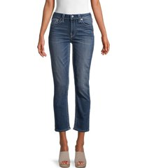 true religion women's jennie straight cropped jeans - blue - size 28 (4-6)