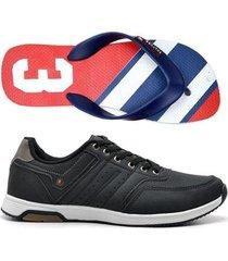 kit sapatênis e chinelo masculino jogging polo culture - masculino