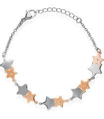 bracciale stella in acciaio bicolore e strass per donna