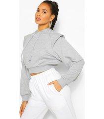korte hoodie met schoudervulling, grijs gemêleerd