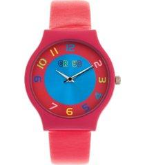 crayo unisex jubilee hot pink leatherette strap watch 36mm