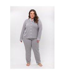pijama plus size feminino danka poá manga longa