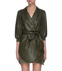 'maureen' vegan leather mini wrap dress