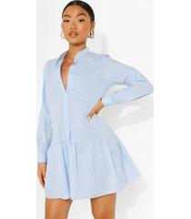 petite gesmokte blouse jurk met geplooide zoom, light blue