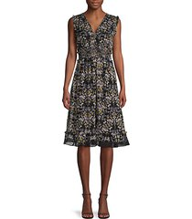 moody floral-print ruffled fit-&-flare dress