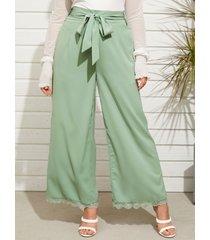 yoins plus talla cinturón diseño cordón de pierna ancha con cordones diseño pantalones