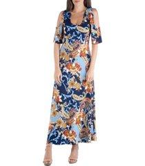 24seven comfort apparel paisley scoop neck open shoulder maxi dress
