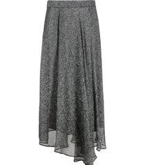 brunello cucinelli paisley-print silk skirt - grey