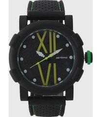 reloj negro-verde-amarillo virox