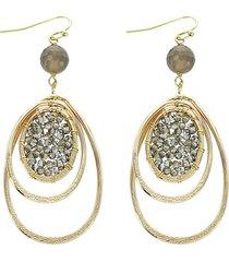 women's panacea smokey grey crystal oval drop earrings
