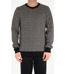 balmain all-over monogram crewneck sweater