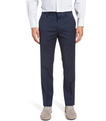men's bonobos jetsetter slim fit flat front stretch wool dress pants, size 40 x unhemmed - blue