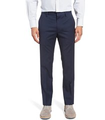 men's bonobos jetsetter slim fit flat front stretch wool dress pants, size 32 x unhemmed - blue
