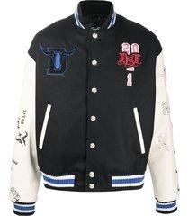 diesel logo-patch varsity jacket - black