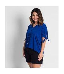 camisa plus size feminina de botões secret glam azul