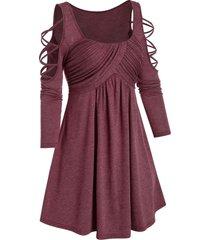 cold shoulder criss-cross ruched flare dress