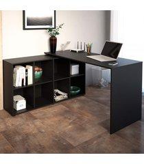 mesa para escritório com armário nero 8 nichos preto - artany