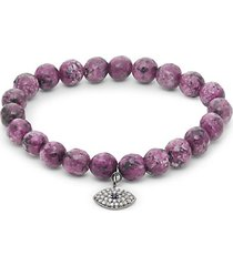 diamond sapphire & agate sterling silver stretch bracelet
