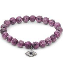 diamond sapphire & agate sterling silver stretch bracelet