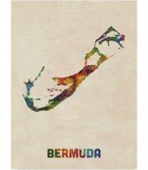 "michael tompsett bermuda watercolor map canvas art - 37"" x 49"""