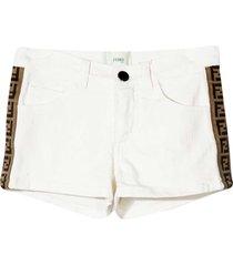 fendi white shorts with side logo band