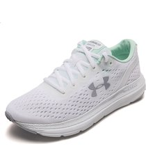 tenis running blanco-verde under armour charged impulse