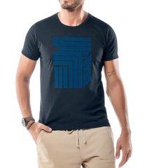 camiseta estampa flocada geométrico no stress azul marinho - kanui