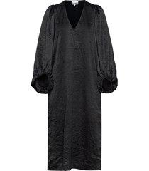 crinkled satin dresses everyday dresses svart ganni