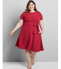 lane bryant women's boatneck lena fit & flare dress 16 sangria