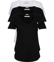 vneck multipack t-shirts & tops short-sleeved svart abercrombie & fitch