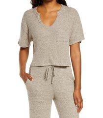 women's socialite rib short sleeve sweater, size large - brown