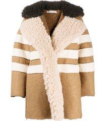 philosophy di lorenzo serafini horizontal-stripe faux-shearling jacket