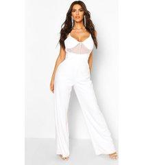 diamante trim mesh detail wide leg jumpsuit, white