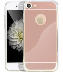 stylish shock defense hd reflective mirror case apple iphone 7 (rose gold)
