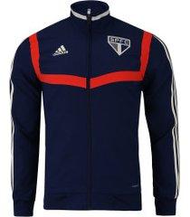 jaqueta de treino do são paulo 2019 adidas - masculina - azul esc/vermelho