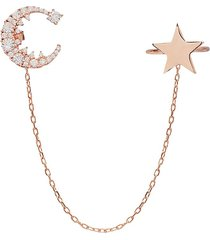 gabi rielle women's 22k rose gold vermeil & cubic zirconia star & moon single ear cuff