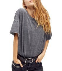 women's free people cozy girl french terry bodysuit, size x-large - grey