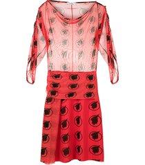 amir slama tulle printed dress - red