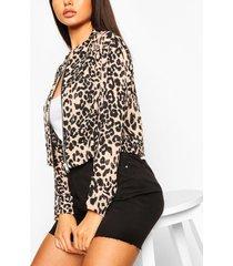 leopard print bomber jacket, nude
