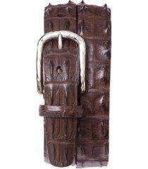 men's big & tall torino hornback crocodile leather belt, size 46 - brown hornback alligator