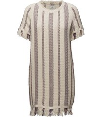 baha woven fringe dress knälång klänning beige lexington clothing