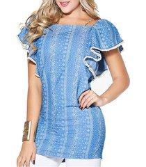 blusa sienna denim azul  para mujer croydon