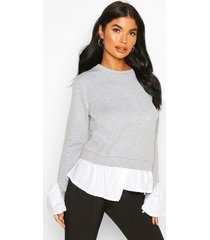 petite layered shirt sweat top, grey