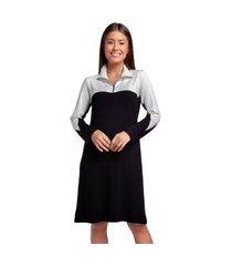 camisão feminino de inverno preto com branco e bolsos
